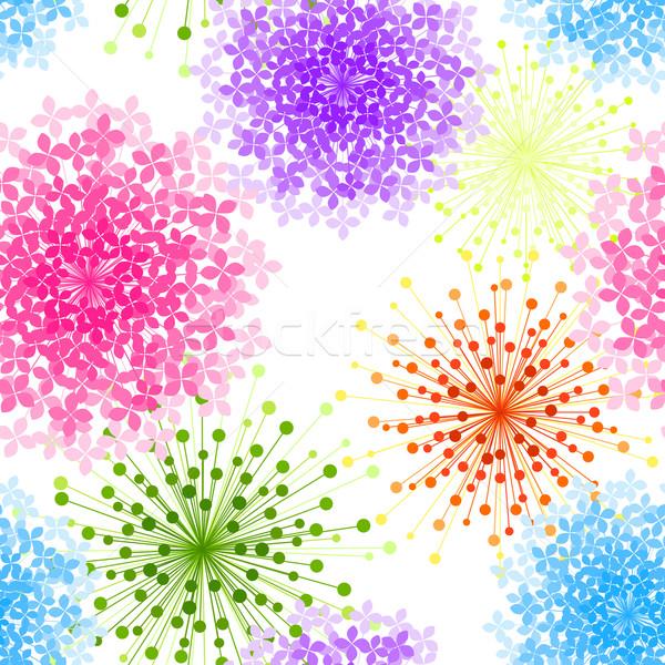 カラフル 花 シームレス 壁紙 春 背景 ストックフォト © meikis