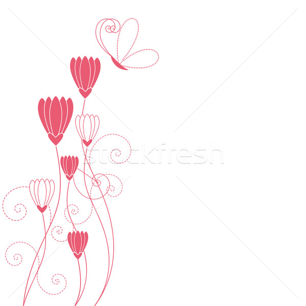 Abstract floral with butterfly greeting card Stock photo © meikis