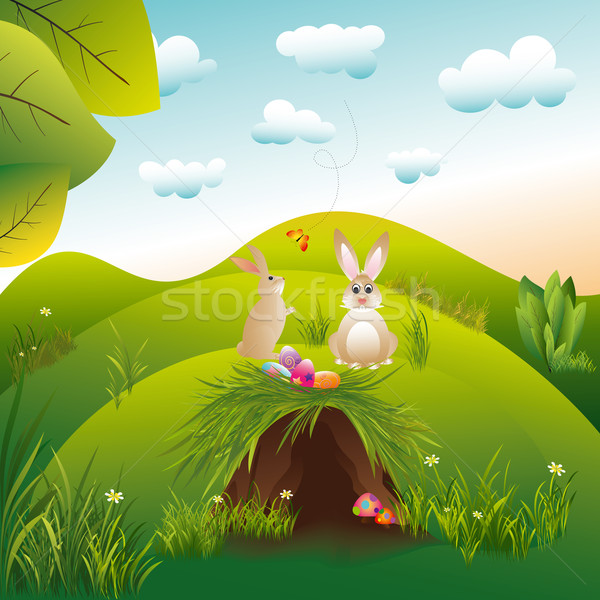 Springtime easter holiday landspace hares in the wonderland Stock photo © meikis