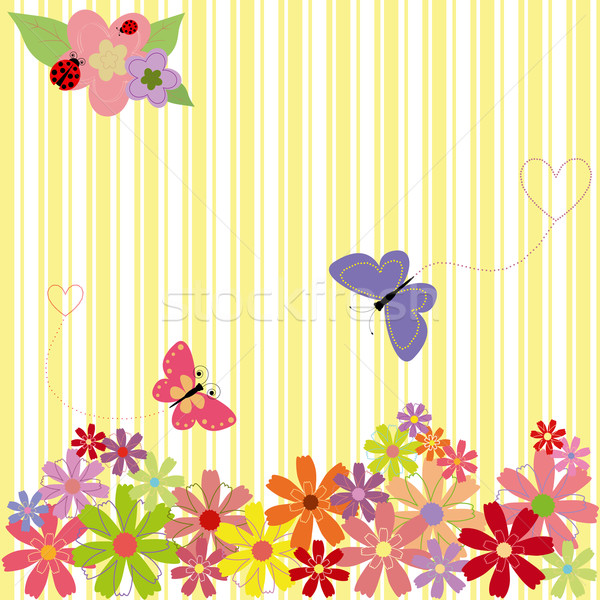 Springtime flowers & butterflies on yellow stripe background Stock photo © meikis