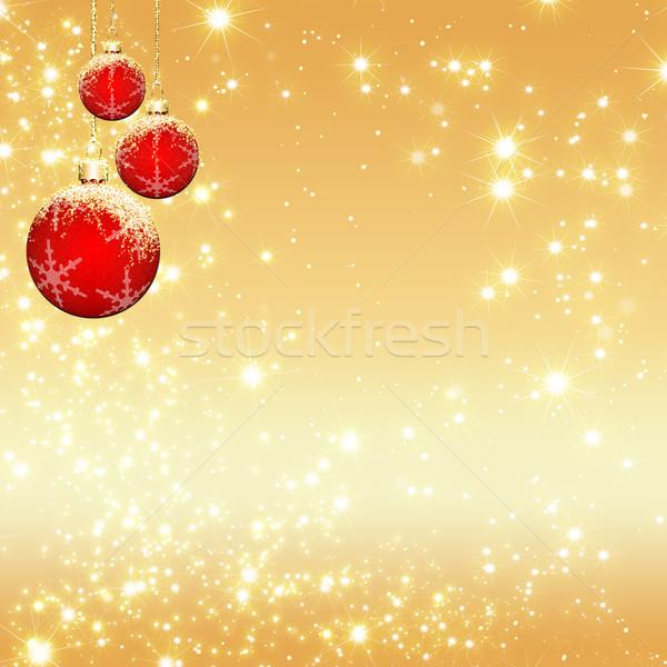 Stock fotó: Karácsony · üdvözlőlap · pezsgő · labda · csillámlás · háttér