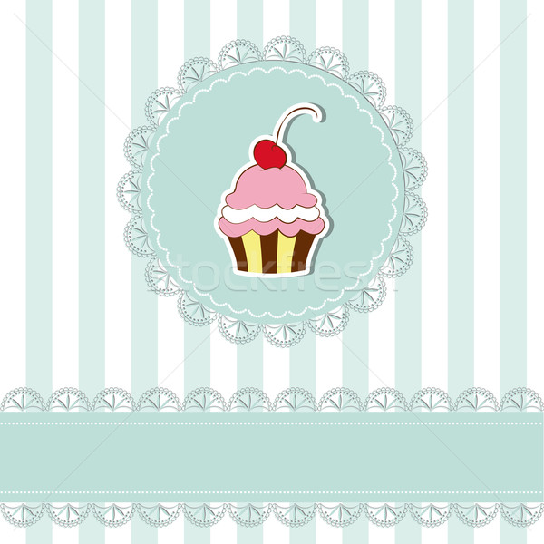 Cherry cupcake invitation card Stock photo © meikis