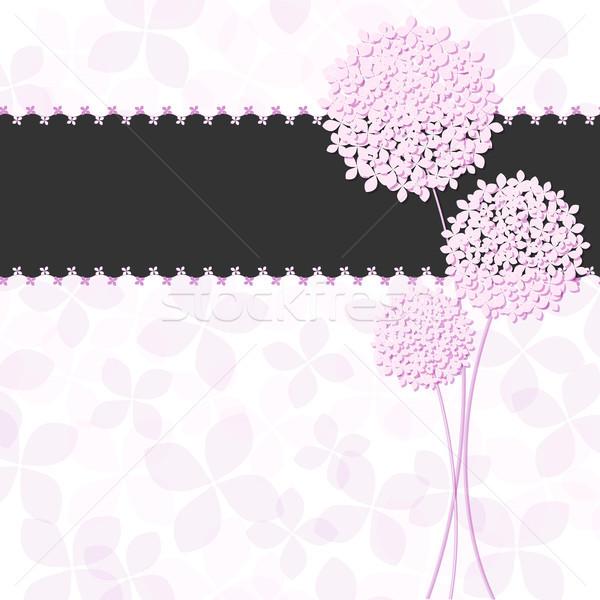 Photo stock: Printemps · rose · pourpre · fleur · carte · de · vœux · mariage