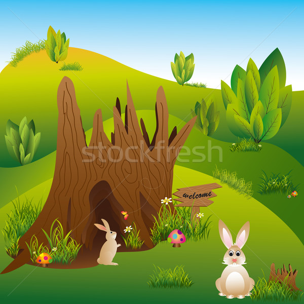 Printemps Pâques vacances illustration lapins wonderland Photo stock © meikis