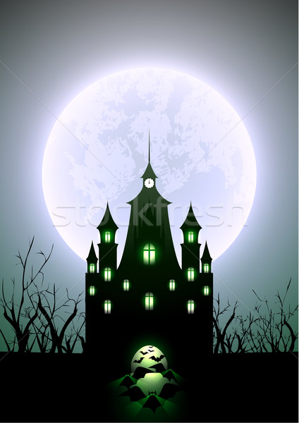 Halloween Illustration Full Moon and Haunted Castle Stock photo © meikis