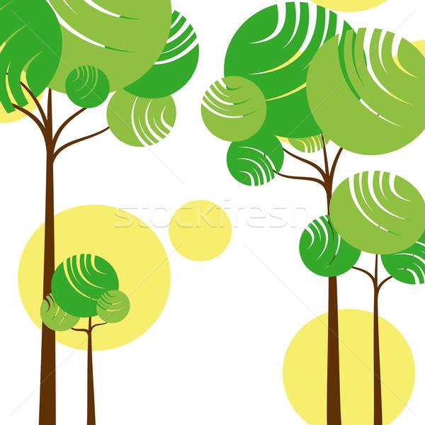Résumé printemps arbre vert jaune arbre Photo stock © meikis