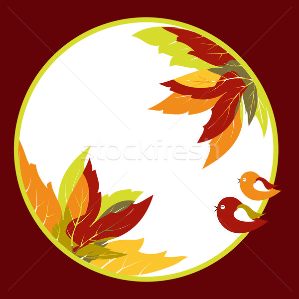 Abstract autumn leaves with bird background Stock photo © meikis