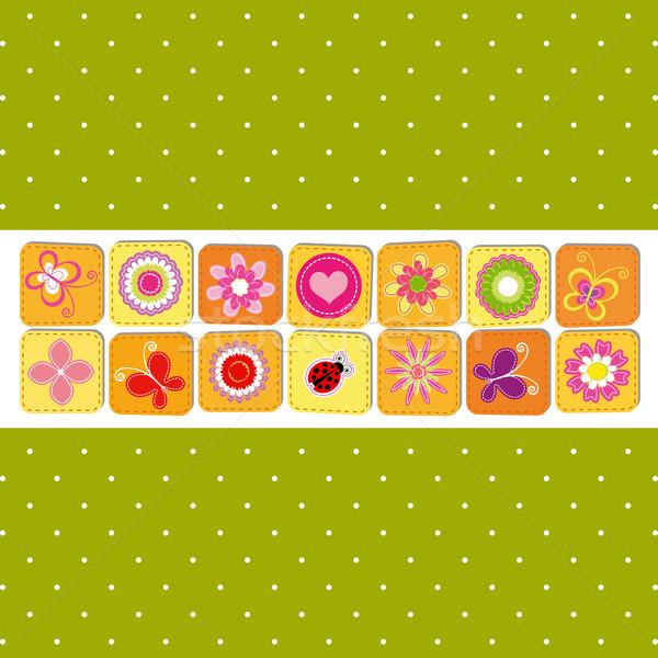 Résumé printemps fleur carte de vœux vert printemps Photo stock © meikis