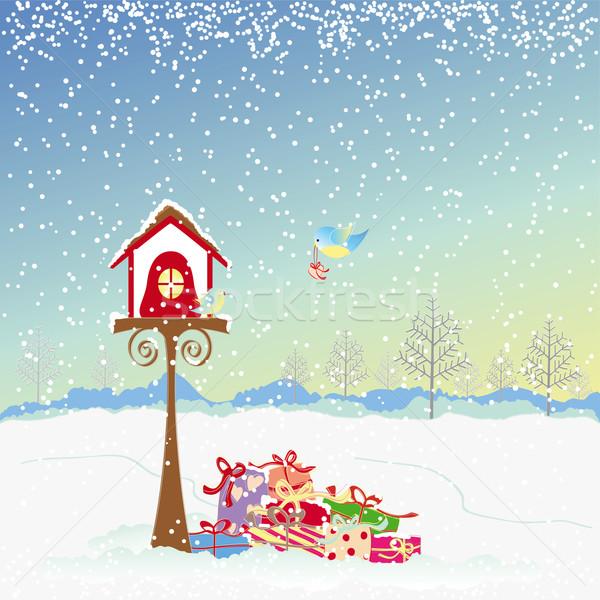Photo stock: Noël · accueil · oiseaux · coloré · présents · amour