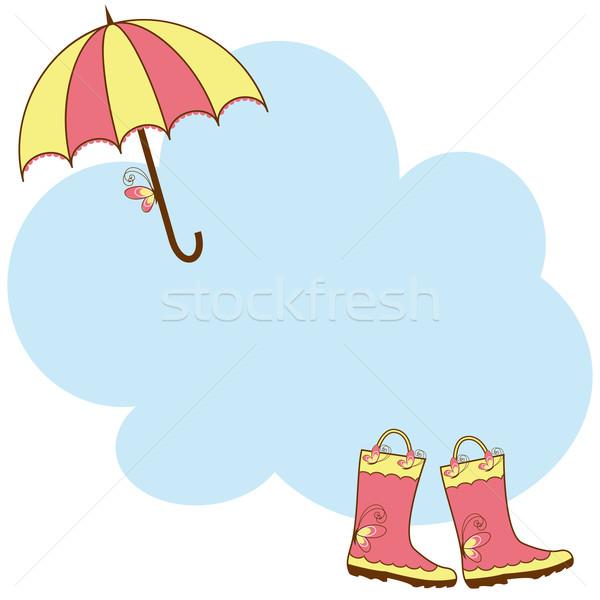 Illustration cute rain boots and umbrella Stock photo © meikis