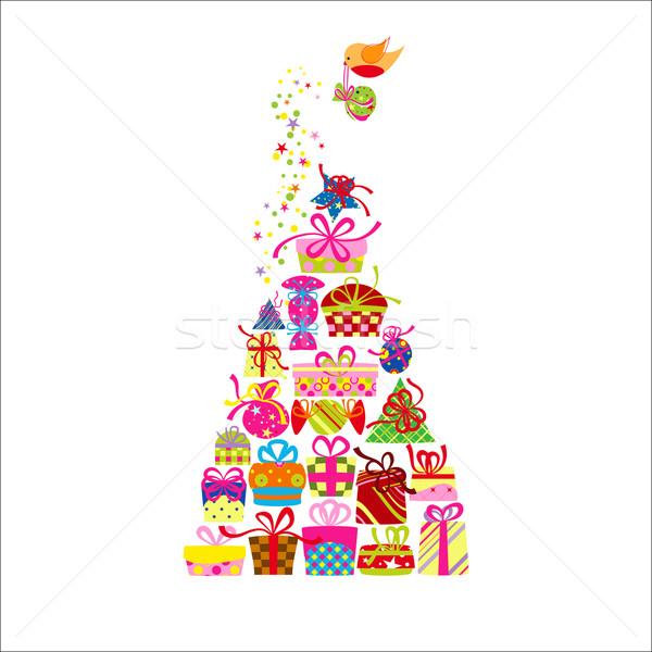 Noël carte de vœux coloré présents amour heureux Photo stock © meikis