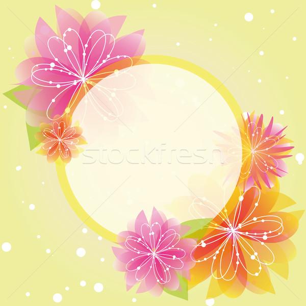 Résumé printemps fleur carte de vœux vert jaune Photo stock © meikis