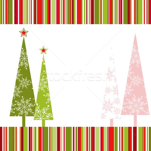 Noël carte de vœux arbre de noël star coloré stripe Photo stock © meikis