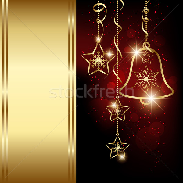 Sparkling Red Christmas Bell Snowflakes Greeting Card Stock photo © meikis