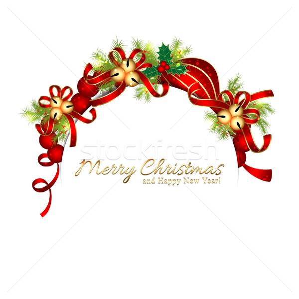 Sparkling Christmas Bell Snowflake Greeting Card Stock photo © meikis