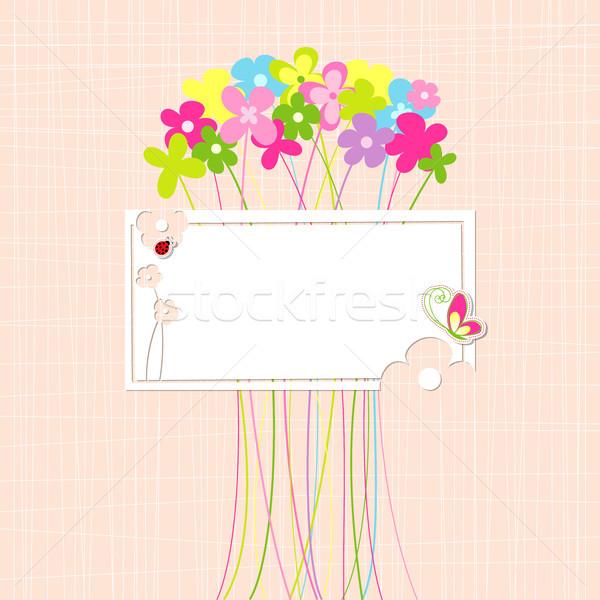 Photo stock: Printemps · coloré · fleur · carte · de · vœux · papillon · printemps