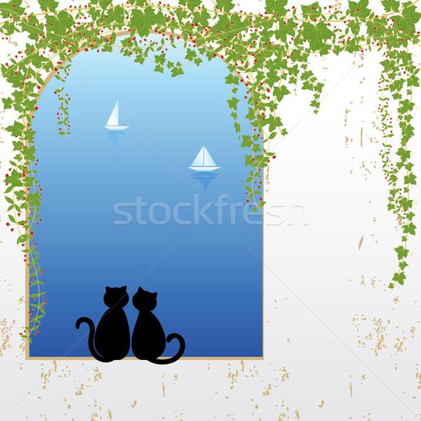 Chat amour datant profonde bleu mer Photo stock © meikis