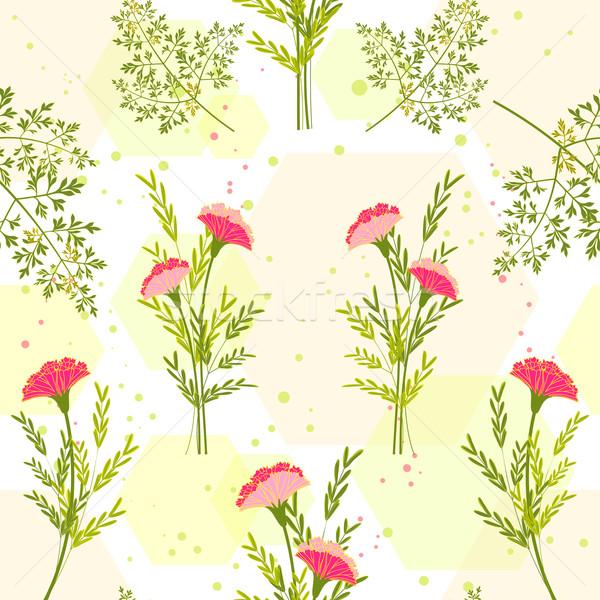 Bahar renkli çiçek ot model soyut Stok fotoğraf © meikis