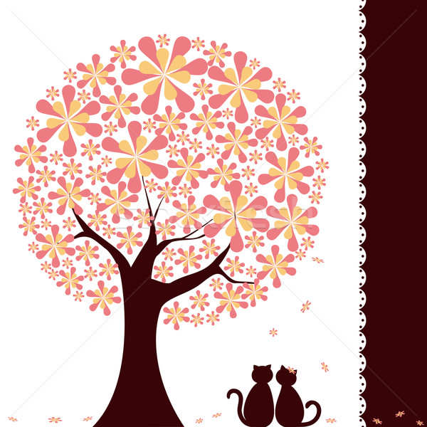 Springtime flower tree with love cats Stock photo © meikis