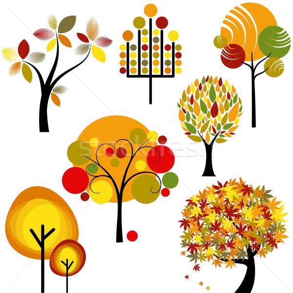 Ayarlamak soyut sonbahar ağaç renkli toplama Stok fotoğraf © meikis