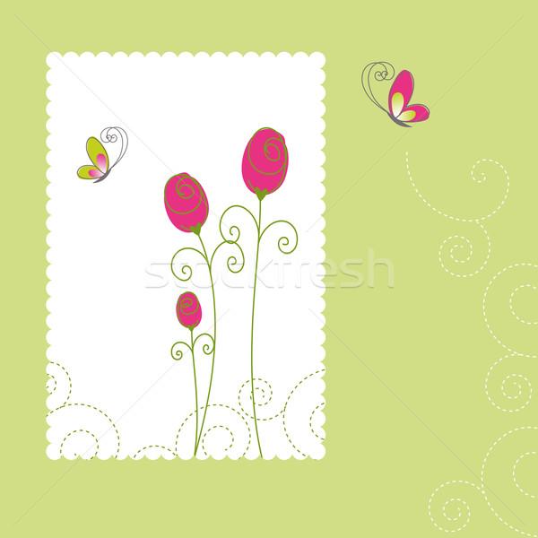 Printemps fleurs d'été carte de vœux été fleur papillon Photo stock © meikis