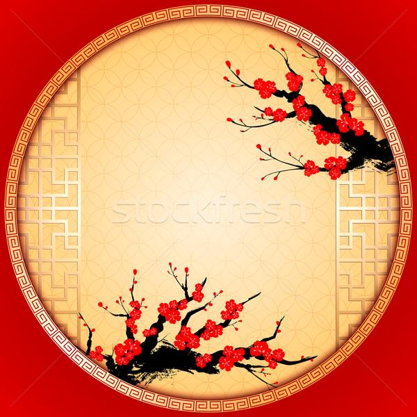 Carte de vœux cerisiers en fleurs fleur fond cadre Photo stock © meikis