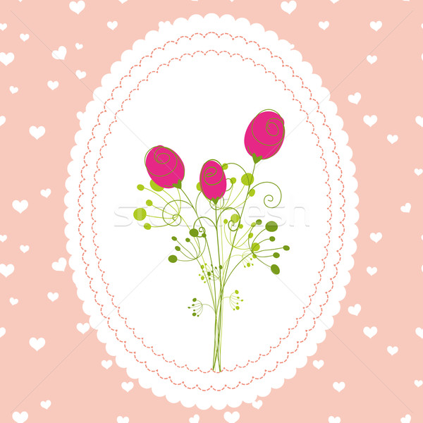 Springtime rose flowers pink background greeting card Stock photo © meikis