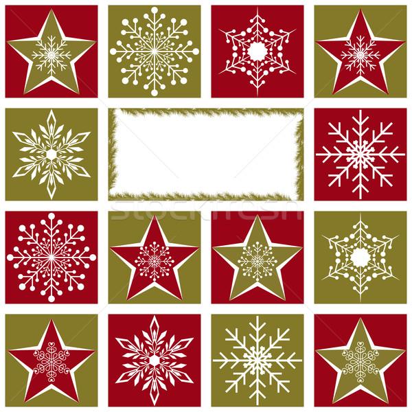 Noël carte de vœux flocons de neige star rouge vert Photo stock © meikis