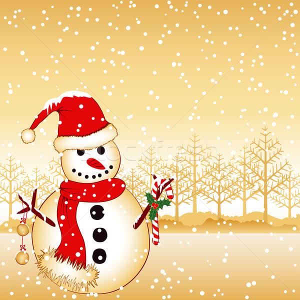 Noël accueil bonhomme de neige blanche neige terres Photo stock © meikis