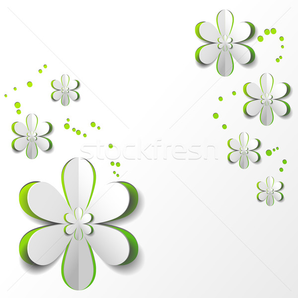 White Paper Flower in Green background Card Design Stock photo © meikis