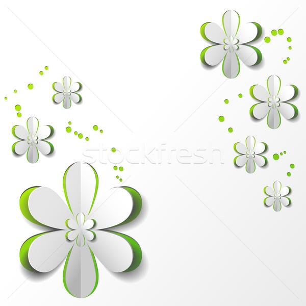Beyaz kâğıt çiçek yeşil düğün Stok fotoğraf © meikis