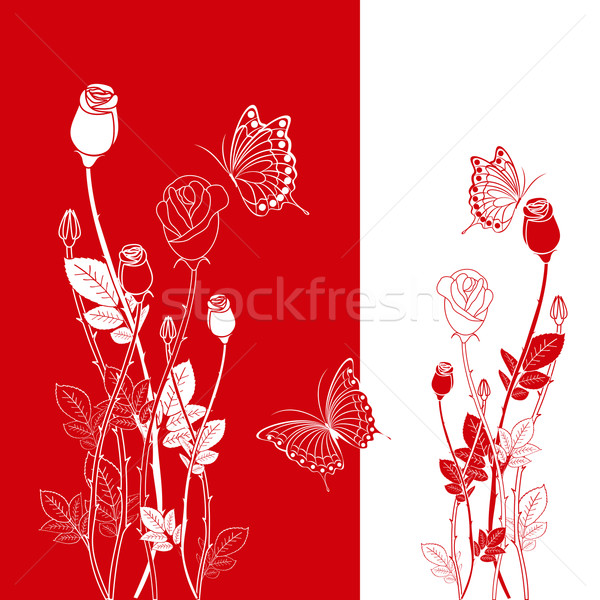 Résumé rouge fleur papillon carte de vœux printemps Photo stock © meikis
