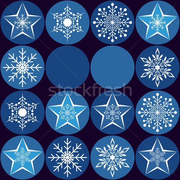 Noël carte de vœux flocons de neige star bleu fête Photo stock © meikis