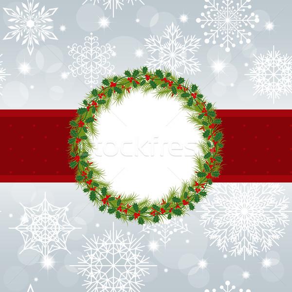 Noël carte de vœux flocons de neige star argent fête Photo stock © meikis