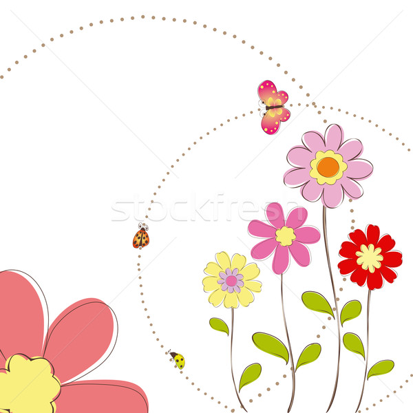 Springtime colorful flowers with butterfly greeting card Stock photo © meikis