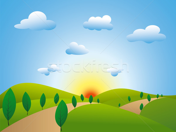 Springtime landscape green fields trees with blue sky Stock photo © meikis