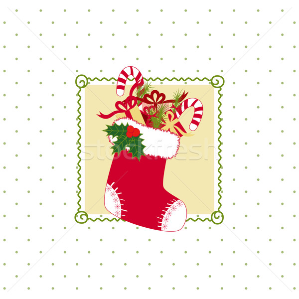 Noël carte de vœux stockage coloré cadeaux à pois Photo stock © meikis
