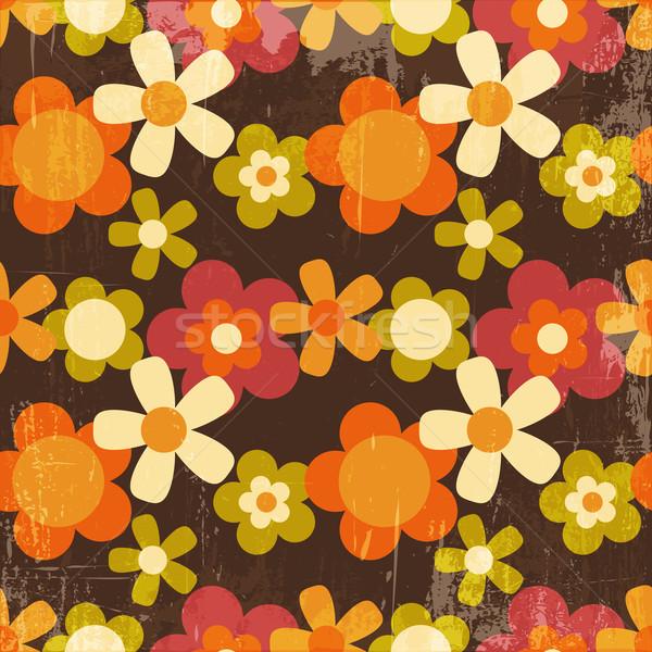 Retro tarzı renkli çiçek duvar kağıdı soyut Stok fotoğraf © meikis
