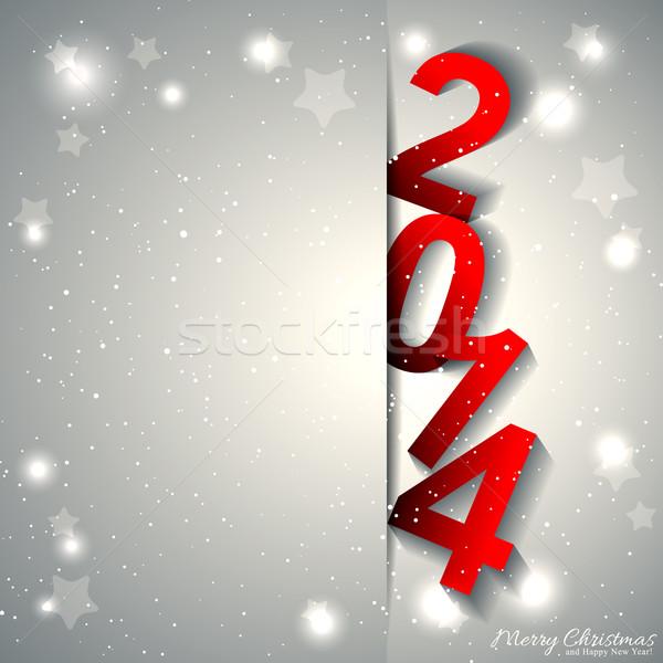 Nouvelle année carte de vœux blanche argent fleur résumé Photo stock © meikis