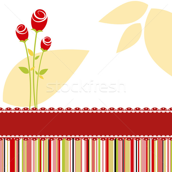 Invitation card with red rose flower Stock photo © meikis