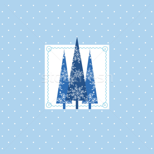 Noël carte de vœux bleu arbre de noël blanche Photo stock © meikis