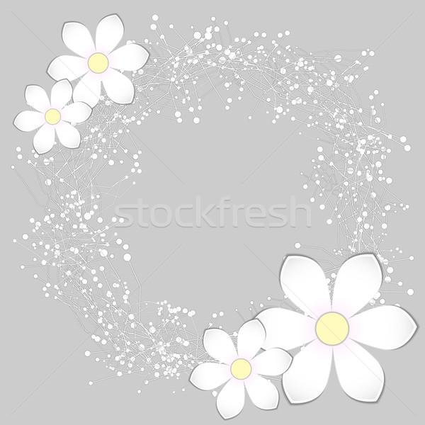 Blanche papier fleur mariage résumé Photo stock © meikis