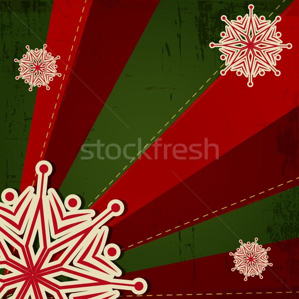 Рождества снежинка ретро зеленый красный цветок Сток-фото © meikis
