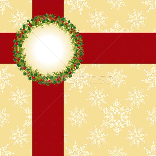 Noël carte de vœux couronne ruban fond Photo stock © meikis