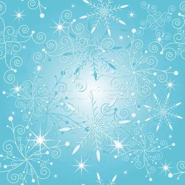 Csillog kék karácsony hópehely végtelen minta virág Stock fotó © meikis