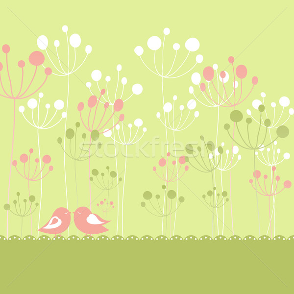 Photo stock: Printemps · coloré · oiseaux · vert · floral · carte · de · vœux