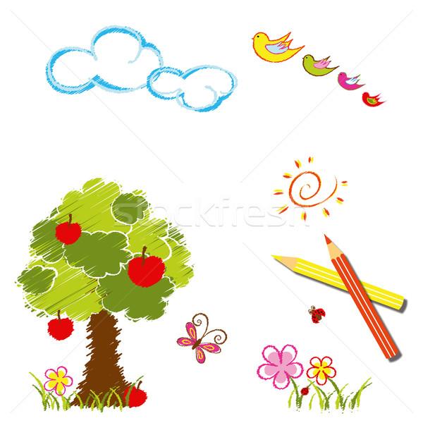 Renkli çizim çocuklar kelebek arka plan Stok fotoğraf © meikis