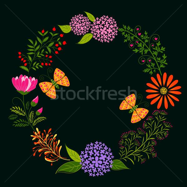 Bahar renkli çiçek kelebek karanlık yeşil Stok fotoğraf © meikis