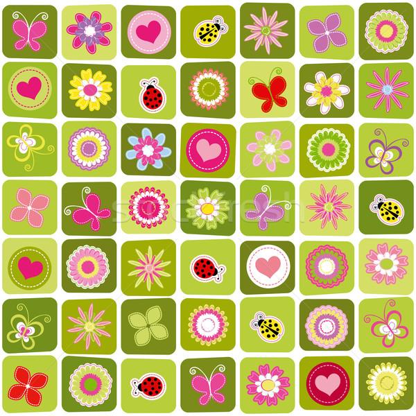 Résumé printemps coloré fleur coeur Photo stock © meikis
