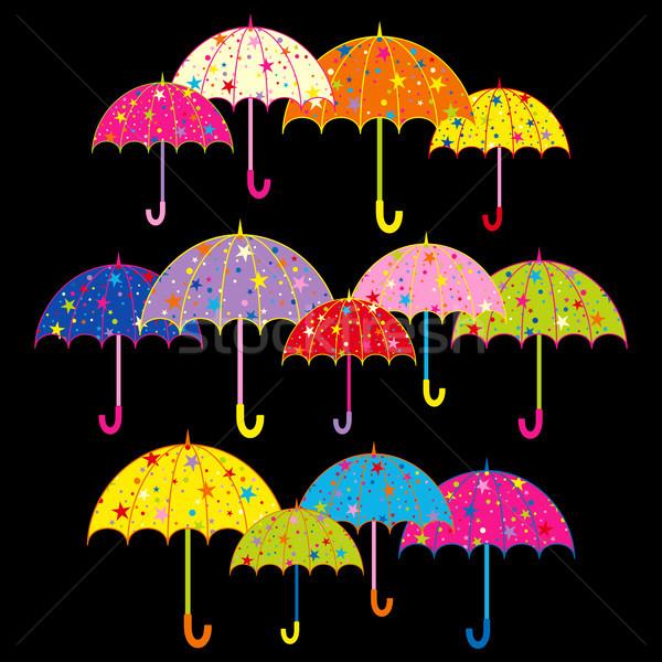 Renkli şemsiye siyah arka plan yağmur star Stok fotoğraf © meikis